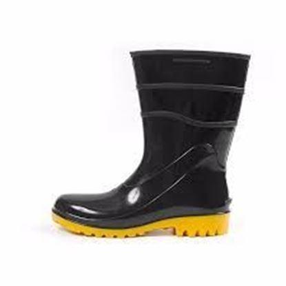 Imagem de Bota de PVC preta com solado amarelo innpro cano médio